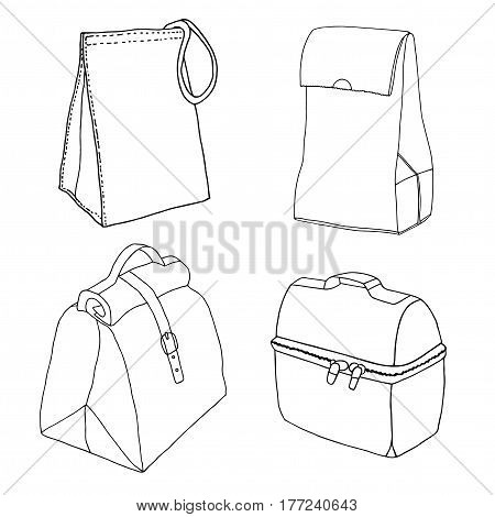 Lunchbox collection. Easy lunch bags concepts. Various food bags and food boxes. Hand drawn vector sketch set.