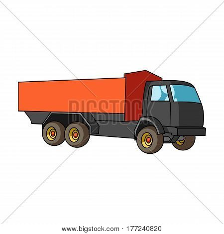 Pickup rural truck. Tow auto. Truck with orange body for the transport of agricultural crops.Agricultural Machinery single icon in cartoon style vector symbol stock web illustration.