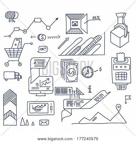 Hand draw doodle elements bank business finance analytics earnings