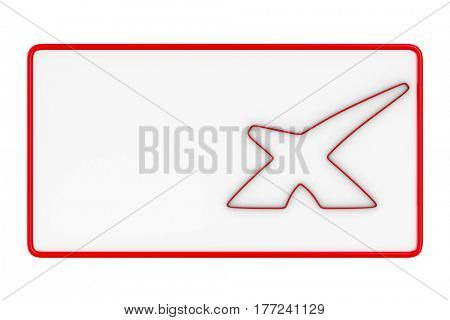 billboard with symbol X on white background. Isolated 3D image