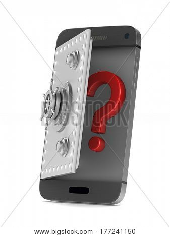 Protection phone on white background. Isolated 3D image