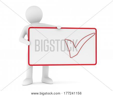 billboard with checkmark on white background. Isolated 3D image
