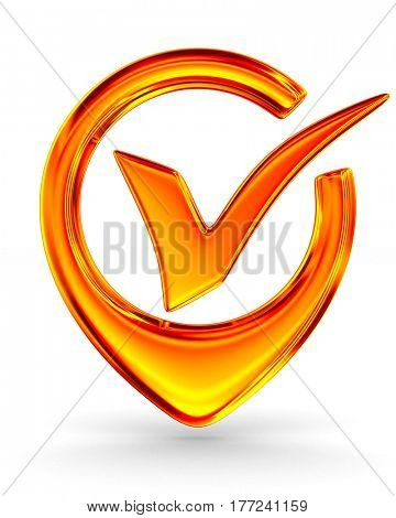 red positive symbol on white background. Isolated 3D image