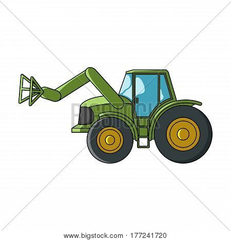 Combine with long hydraulic legs to capture the hay.Agricultural Machinery single icon in cartoon style vector symbol stock web illustration.