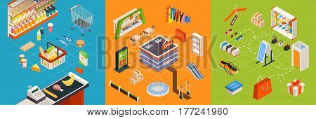 Shopping mall colorful isometric store interior composition of fashion clothes fast food court and supermarket zones vector illustration