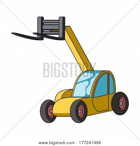 The car lift for loading cargo into the truck for transportation.Agricultural Machinery single icon in cartoon style vector symbol stock web illustration.