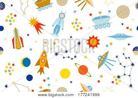 Seamless vector pattern with sun, moon, planets, astronaut, lunar rover, ships, comet. Children textile collection. Colorful on dark blue.