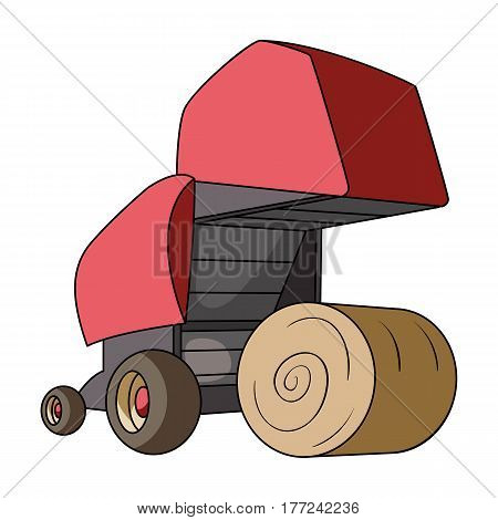 Round hay bales. Modern agricultural machinery for  of hay and rolling circles.Agricultural Machinery single icon in cartoon style vector symbol stock web illustration.