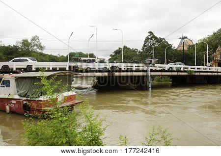 Fireboat Floating Chanthaburi River While Water Fast And Severe Because Flash Flood After Rainy At O