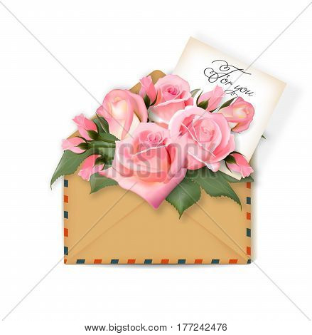 Roses with a note in an envelope. Template for greeting card, banner, an invitation. Mothers day Card. Concept spring background. Vector. The concept of flower delivery.