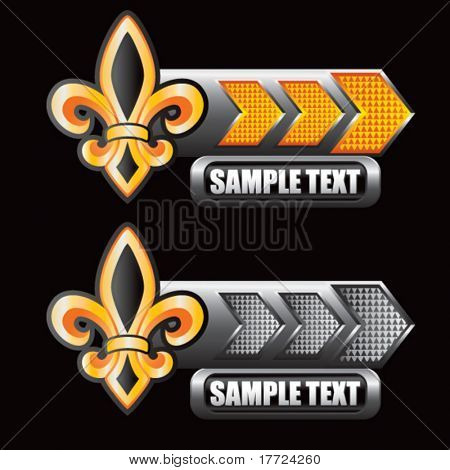 fleur de lis orange and gray arrow nameplates