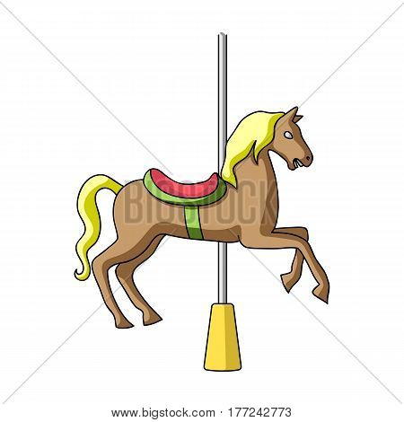 Carousel for children. Horse on the pole for riding.Amusement park single icon in cartoon style vector symbol stock web illustration.