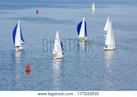Sailing life on a summer river Dniepr.