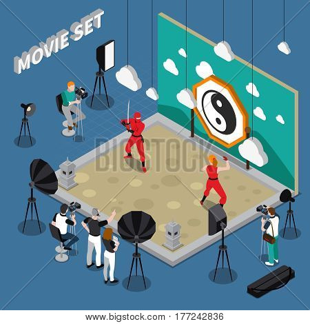 Movie set with actors director and cameramen decorations and equipment on blue background isometric vector illustration