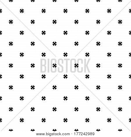 Vector monochrome seamless pattern, simple minimalist geometric background, small black cruciate figures on white backdrop. Repeat abstract texture. Design element for prints, decoration, fabric, textile, digital, web