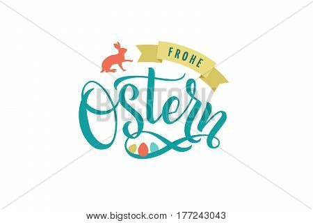 Happy Easter Germany Calligraphy Greeting Card. Modern Brush Lettering. Joyful Wishes, Holiday Greetings. Pastel Background. Bunny and Chicken.
