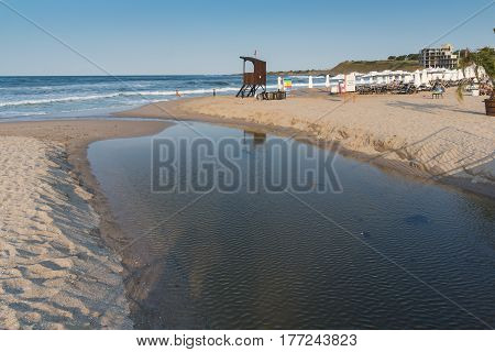 LOZENETS, BULGARIA - JULY 2, 2013: Panorama of Oasis beach near village of Lozenets, Burgas Region, Bulgaria