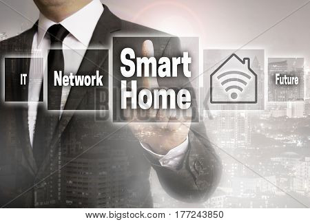 Smart Home Businessman With City Background Concept