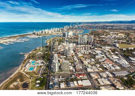 SURFERS PARADISE, AUS - SEPT 04 2016 Aerial view of Surfers Paradise skyline and the beaches, Gold Coast, Australia.