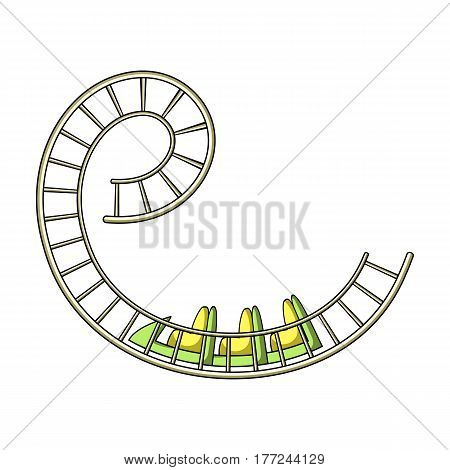 Roller coaster for children and adults. Dead loops, dangerous turns, terrible rides.Amusement park single icon in cartoon style vector symbol stock web illustration.