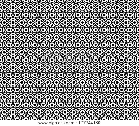 Vector monochrome seamless pattern. Modern geometric texture with simple figures, small perforated hexagons. Black & white abstract mosaic background, repeat tiles. Design for prints, decoration, textile, fabric, wrapping
