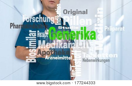 Doctor Shows On Viewer With Generika (in German Alternative Medicine) Wordcloud Concept
