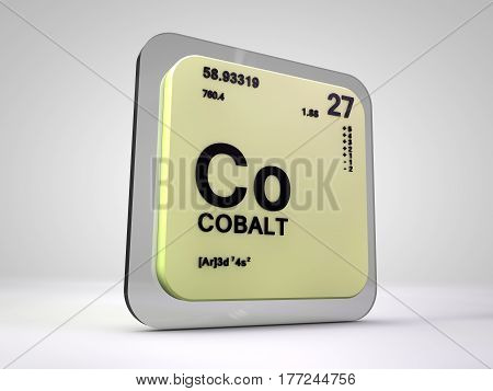 Cobalt - Co - chemical element periodic table 3d render