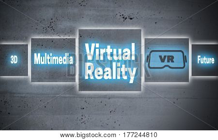 Virtual reality cement touchscreen concept background picture