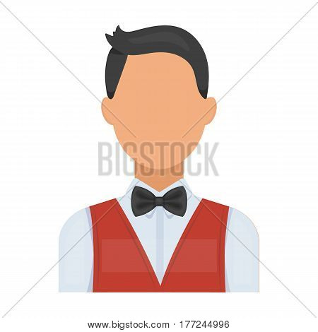 The man in a suit. The croupier, the person who follows the game in the casino.Kasino single icon in cartoon style vector symbol stock web illustration.