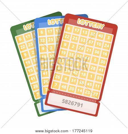 Lottery tickets. Chance to win the jackpot. Gambling in the casino.Kasino single icon in cartoon style vector symbol stock web illustration.