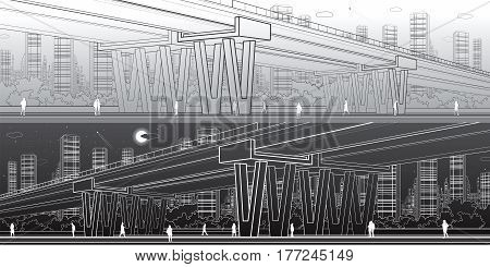Flyover, architectural and infrastructure panorama, transport overpass, highway, urban scene, people walking, night city on background, light and dark version, vector design art