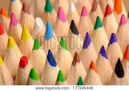 close-up photo of colored pencils side by side - shallow depth of field
