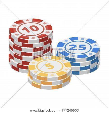 Playing chips. The settlement coin in the casino.Kasino single icon in cartoon style vector symbol stock web illustration.