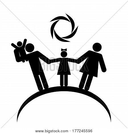 Happy family under the sun on the planet. Family logo black figures on a white background.