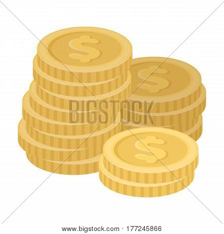 A pile of coins for reckoning in a casino. Gambling.Kasino single icon in cartoon style vector symbol stock web illustration.