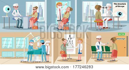 Healthcare ophthalmology horizontal banners with medical consultation eye treatment sight test optical correction and surgery vector illustration