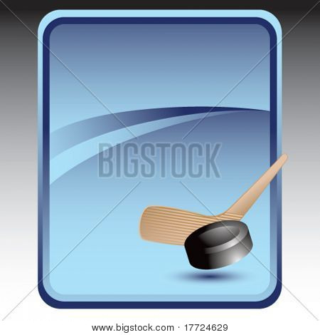 hockey stick and puck blue background