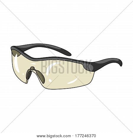 Protection for the eyes of cyclists from falling rocks.Cyclist outfit single icon in cartoon style vector symbol stock web illustration.