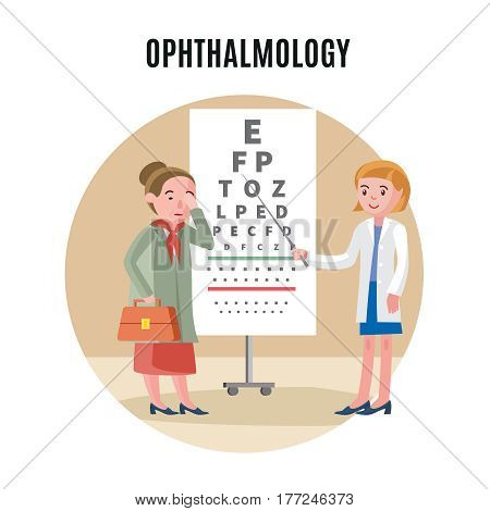 Flat ophthalmology medical concept with female patient and doctor at sight test vector illustration