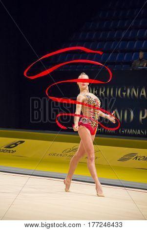 KYIV, UKRAINE - MARCH 17, 2017: Alesia Kolomainen (Finland) performs at Deriugina Cup Grand Prix (Rhythmic Gymnastics International Tournament)