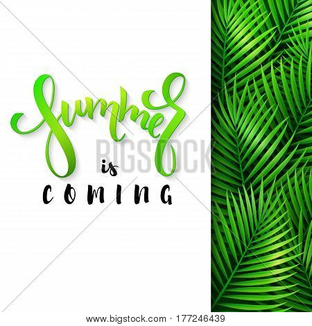vector illustration of hand lettering poster - summer is coming with paper sheet on a background palm leaves.