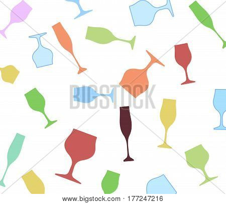 Bottle of alcohol.Glasses alcohol background.Design for Party.Alcoholic Bottles vector.Wine background.Cocktail Party.Wine List Design.Template for Menu Card.Suitable for Poster.Card with Glasses.