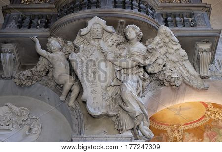 ROME, ITALY - SEPTEMBER 02: Coat of arms of Pope Alexander VII Chigi in Church of Santa Maria del Popolo, Rome, Italy on September 02, 2016.