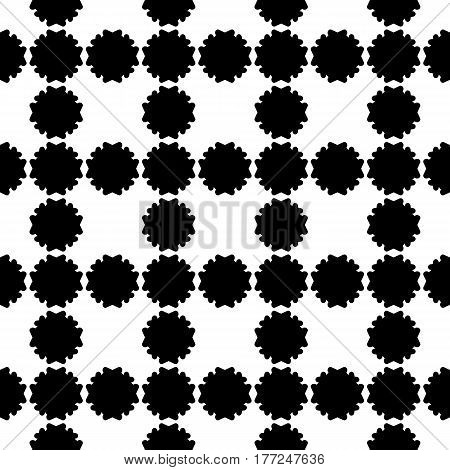 Vector seamless pattern, simple floral geometric texture. Black flower silhouettes on white backdrop, square grid, repeat tiles. Abstract background, old style design. Element for print, decor, fabric, textile, fabric, cloth