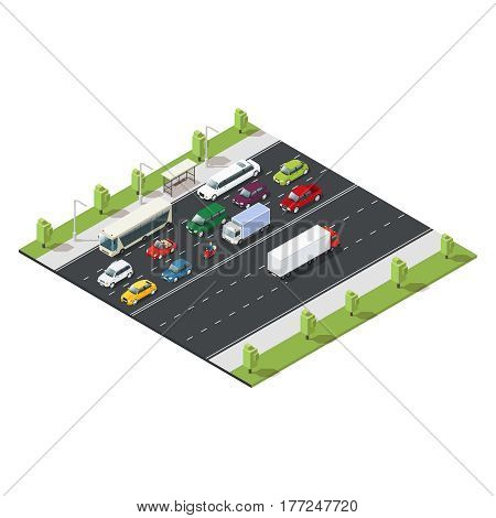 Isometric urban traffic template with moving cars of different models and green trees vector illustration