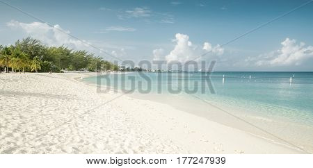 Panorama of Seven Mile Beach on Grand Cayman island