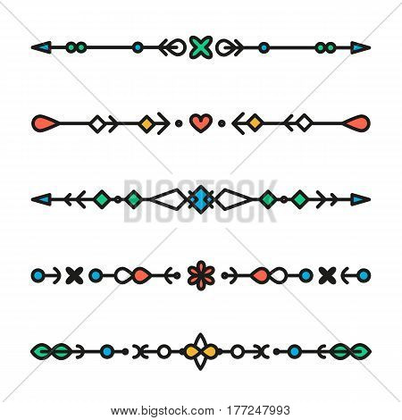Set of colorful line geometric dividers vector isolated elements