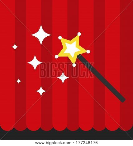 Magician concept, wand with red curtain, flat vector style