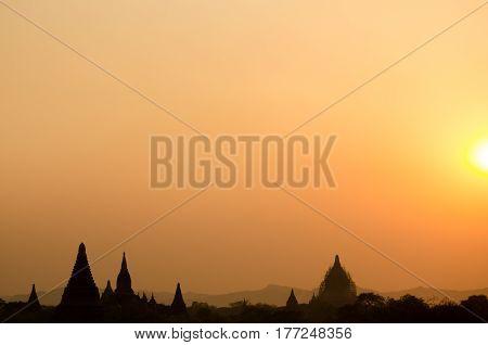 silhouette of pagoda while sunset at Bagan Mandalay Burma