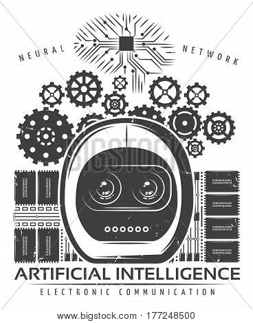 Vintage artificial intelligence label template with android head mechanical gears microchips cybernetic and neural innovations vector illustration